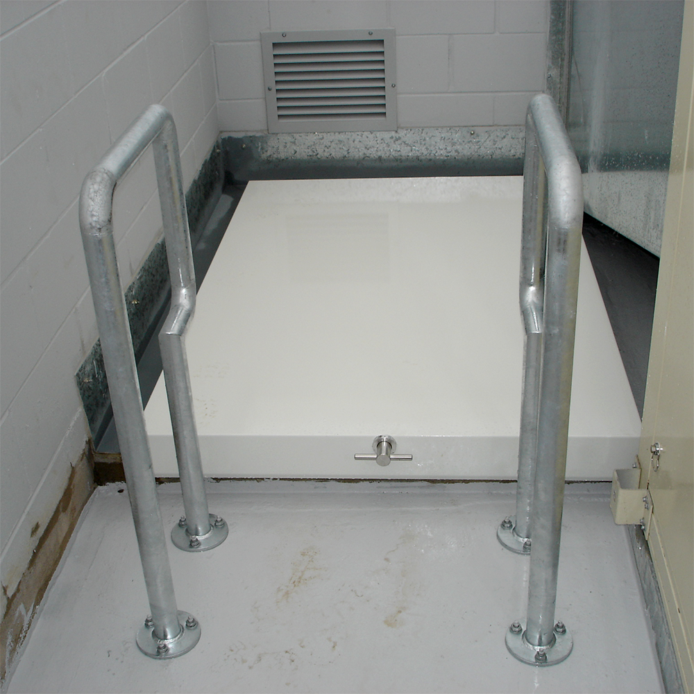 access hatch and safety rails